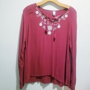 Justice size 20 maroon long sleeve